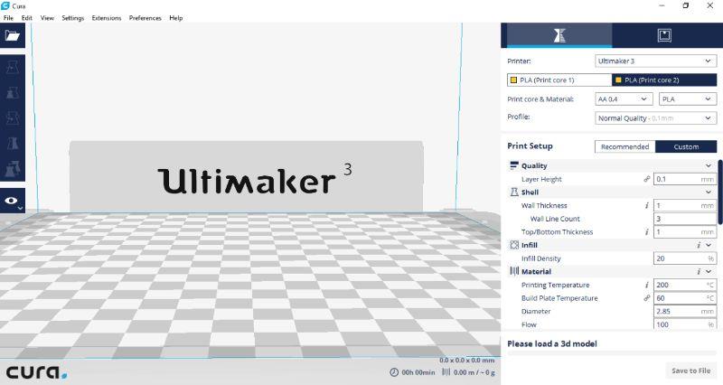 Stap 1, instellen van de printcores in Cura - Ultimaker 3 - Bits2Atoms