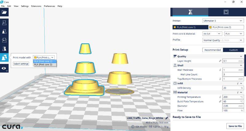 Stap 3, selecteer het deel dat met printcore moet worden geprint - Ultimaker 3 - Bits2Atoms