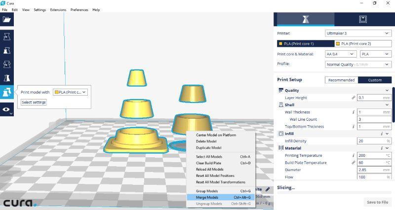 Stap 5, selecteer beide modellen en merge - Ultimaker 3 - Bits2Atoms