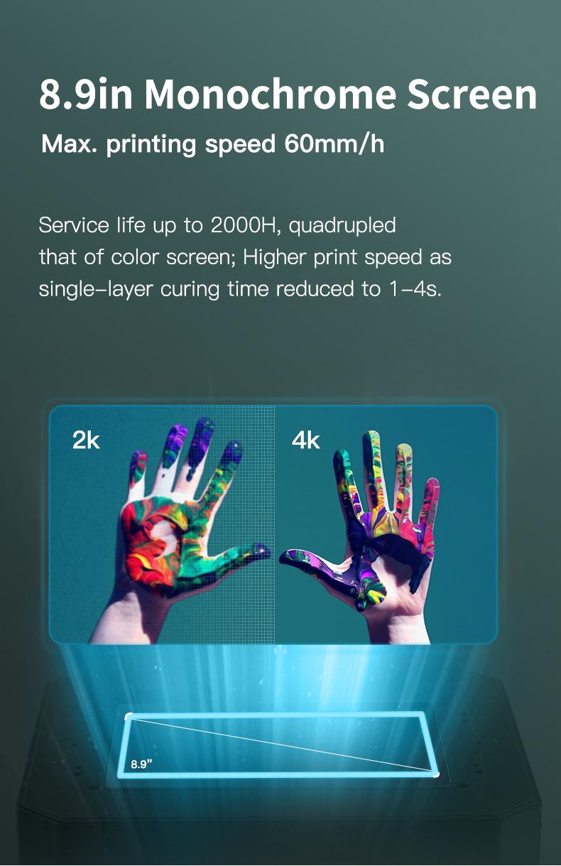 Creality LD-006 8.9 '' monochroom scherm: belichtingstijd 1-4s