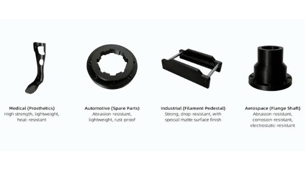 Raise3D PA12 CF Composietmaterialen van koolstofvezel hebben veel toepassingen, waaronder functionele prototypes, ruimtevaart, auto's, medische apparatuur, sportuitrusting, civiele techniek, elektronica en andere gebieden.