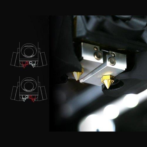 Dankzij het lifting nozzle systeem eenvoudig dual printen